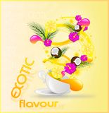 Exotic flavour card. With cup of different tastes Royalty Free Stock Photo