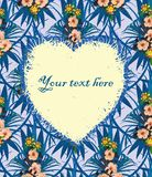 Exotic floral heart shaped frame. Your text here. Stock Photography