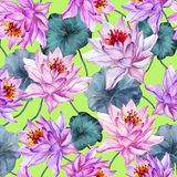 Exotic floral seamless pattern. Large pink lotus flowers with stems and leaves on bright green background. Hand drawn illustration. Watercolor painting. Design Stock Photo
