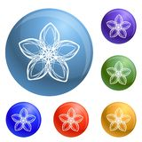 Exotic flower icons set vector royalty free illustration