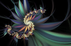 Exotic flowers. Abstract multicolored spiral on black background. Computer-generated fractal in blue, emerald green, yellow, orange and violet colors Stock Photo