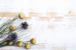 Exotic flowers and grass on white rustic wooden background Royalty Free Stock Image