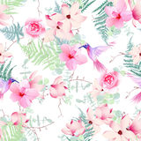 Exotic flowers with hummingbirds seamless vector print Stock Image