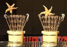 Exotic food on a stick. Scorpions, seahorses and starfish on a stick at the nightmarked at Wangfujing street Beijing China royalty free stock photography