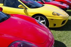 Exotic Foreign European Luxury Sports Cars. Very birght colored new expensive European luxury sports cars stock image