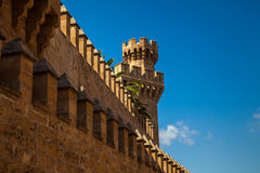 Exotic fortress. With a double battlements and a blue sky on background Stock Images