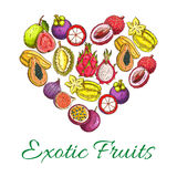 Exotic fresh fruits vector poster in heart shape. Exotic fruits heart shape poster of orange, papaya, durian, guava, carambola, dragon fruit, lychee, feijoa Royalty Free Stock Photography