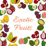 Exotic fresh fruits vector poster. Exotic tropical fruits. Vector poster with juicy guava and durian, dragon fruit and lychee, papaya and carambola. Farmer Stock Photos