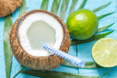 Exotic freshly squeezed juice with coconut and lime Royalty Free Stock Images