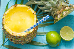 Exotic freshly squeezed juice with pineapple and lime Stock Photos