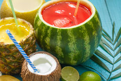 Exotic freshly squeezed juice with pineapple, watermelon and coconut Stock Images