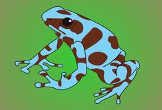 Exotic frog. Exotic blue-brown frog on green background royalty free illustration
