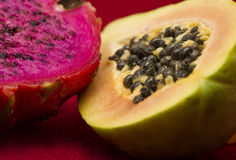 Exotic fruit of dragonfruit and papaya Stock Photo