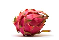Exotic fruit Dragonfruit with pink and green skin on white background. Royalty Free Stock Photos