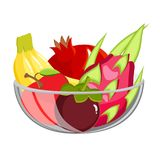 Exotic Fruit in glass bowl. Healthy vegetarian food isolated on white. Exotic Fruit in glass bowl. Healthy food isolated on white Stock Images