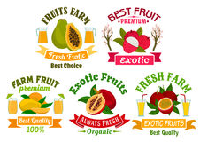 Exotic fruit and juice sign set for food design Royalty Free Stock Photography