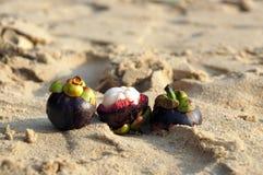 Exotic fruit Mangosteen on the beach of Phuket, Thailand Royalty Free Stock Photo
