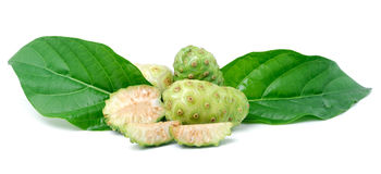 Exotic Fruit - Noni with  leaf on white Stock Photos