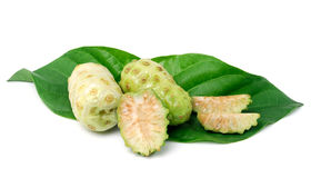 Exotic Fruit  Noni with  leaf on white Stock Image