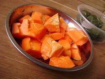 Exotic fruit salad, papaya Royalty Free Stock Photos