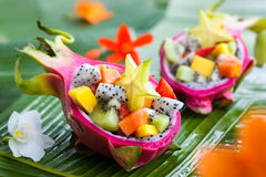 Exotic fruit salad. Served in half a dragon fruit Stock Images