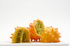 Exotic fruit slices. Kiwiano cut into three slices Royalty Free Stock Image