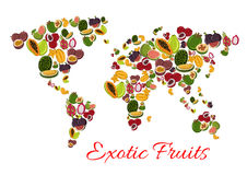 Exotic fruit world map poster for food design Stock Photo