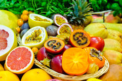 Exotic fruits. Mix of different fresh exotic fruits Stock Photography