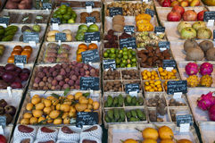 Exotic fruits. Fruits for sale in Viktualienmarkt in Munich, Germany Stock Photo