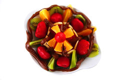 Exotic fruits in chocolate Stock Photo