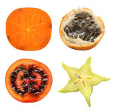 Exotic fruits collection. Half exotic fruits collection isolated on white Stock Photo