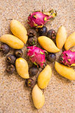 Exotic fruits. Concept of healthy food Stock Images