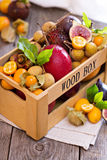 Exotic fruits in a crate Royalty Free Stock Image