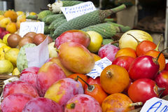 Exotic fruits on display on a market Stock Photos