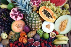 Exotic Fruits. Fresh exotic fruits on a table Royalty Free Stock Image
