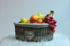 Exotic fruits. Fruit composition with oranges, bananas, grape and lemon Royalty Free Stock Photos