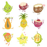 Exotic Fruits Girly Cartoon Characters Set. Childish Design Stickers With Humanized Bright Color Fruit Characters Stock Images