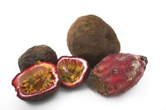Exotic fruits group. Passion fruit,prickly-pear and cherimoya stock photography