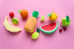 Exotic fruits made of paper Stock Photo