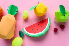 Exotic fruits made of paper Stock Image