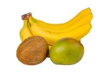 Exotic fruits: mango, bananas, coconut isolated Stock Images