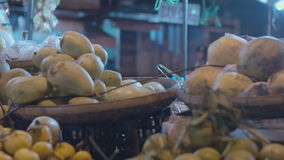 Exotic fruits on the market close-up stock video footage