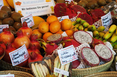 Exotic fruits. On market in Munich royalty free stock photography