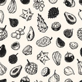 Exotic Fruits, Pattern Royalty Free Stock Images