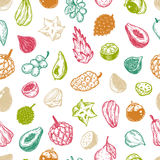 Exotic Fruits, Pattern Royalty Free Stock Photography