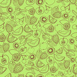 Exotic fruits pattern. A lot of fruits on green background stock illustration