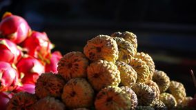 Exotic fruits for sale in the street Asian  market.  stock footage