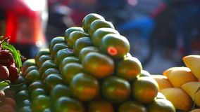 Exotic fruits for sale in the street Asian market. stock video