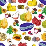 Exotic fruits seamless pattern of  tropical mango and grapefruit or orange, carambola and dragon fruit, guava and longan, fi. Gs or rambutan, passion fruit and Royalty Free Stock Photo