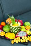 Exotic fruits on the tray Stock Photos